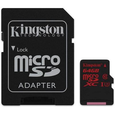 Tarjeta de memoria microSDHC de 64GB con adaptador SD