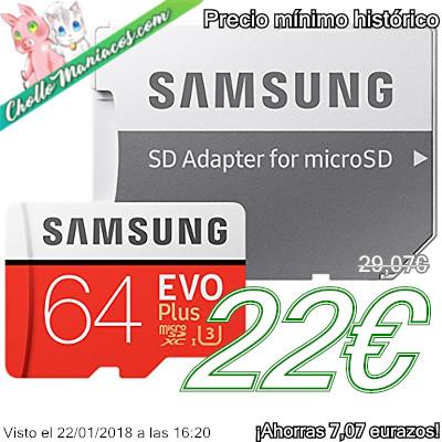 Tarjeta de memoria MicroSDXC de 64GB