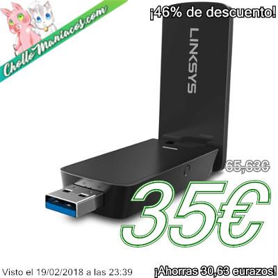 Adaptador Wi-Fi USB Linksys MU-MIMO AC1200 modelo WUSB6400M