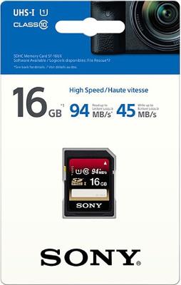 Tarjeta de memoria SD de 16GB Sony detalle